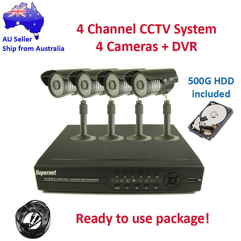 4 Outdoor IR CCTV Video Surveillance Security System Camera DVR 500GB DIY