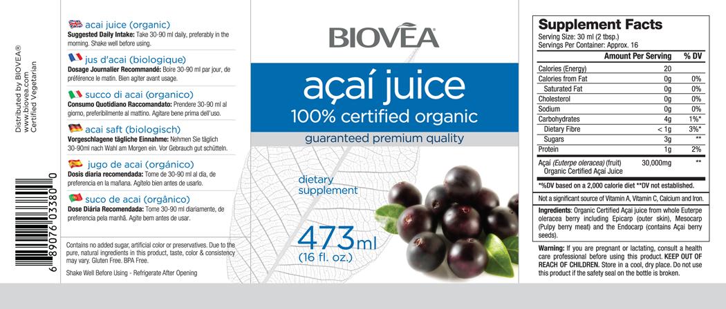 ACAI JUICE (100% Certified Organic) (16oz) 473ml