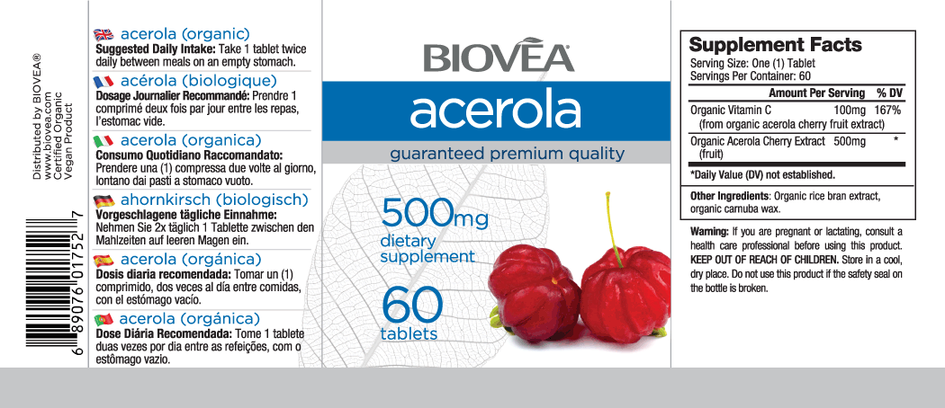 ACEROLA (Organic) 500mg 60 Tablets