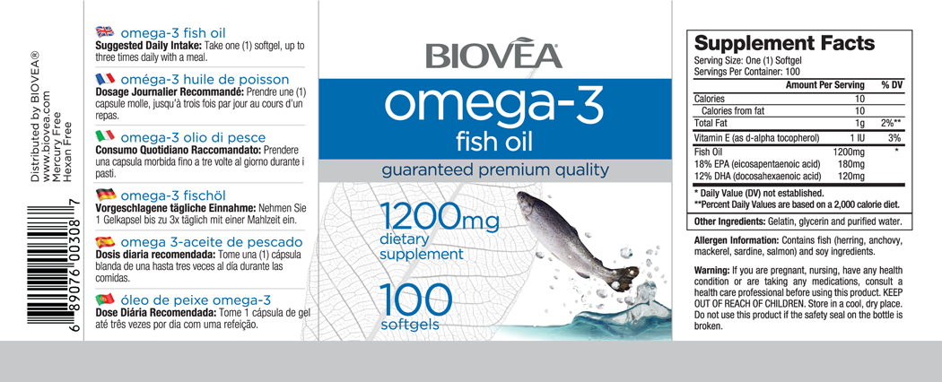 OMEGA-3 FISH OIL 1000mg 100 Softgels