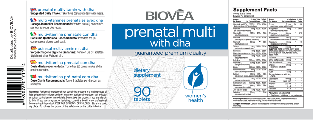 PRENATAL MULTIVITAMIN with DHA 90 Tablets
