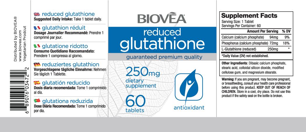 REDUCED GLUTATHIONE 250mg 60 Tablets