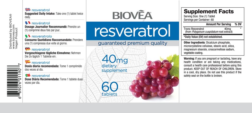 RESVERATROL 40mg 60 Tablets