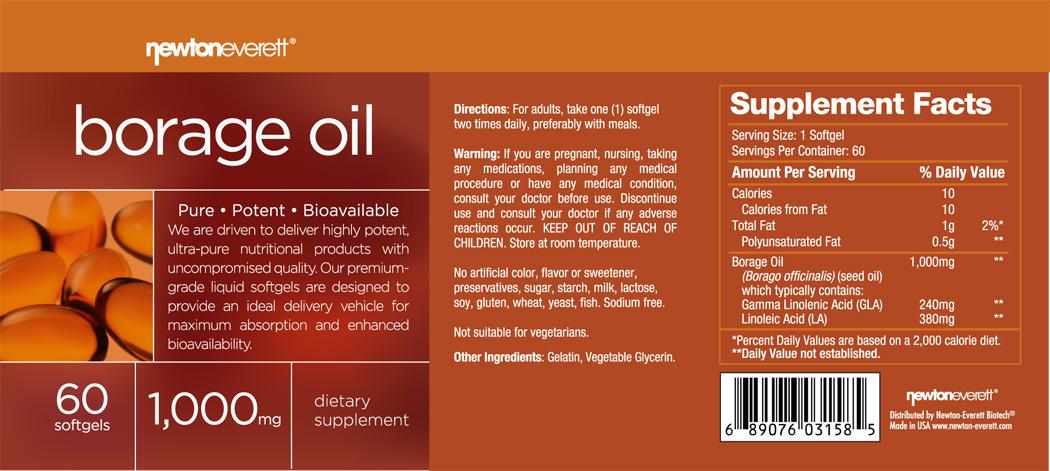 BORAGE OIL 1000mg 60 Softgels
