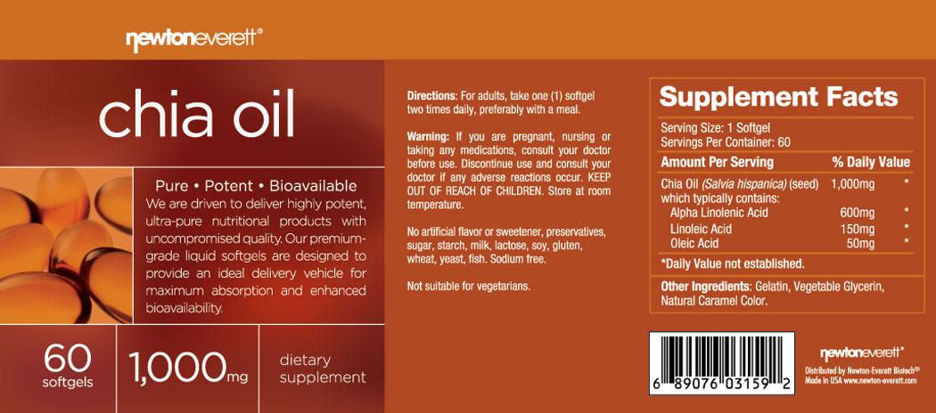CHIA SEED OIL 1000mg 60 Softgels