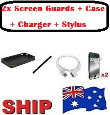 Bundle Pack for iPhone 4/4S - Case+Charger+Stylus+2x Screen Guards