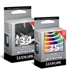 Lexmark 34XL 35 XL High Yield Genuine Ink Combo